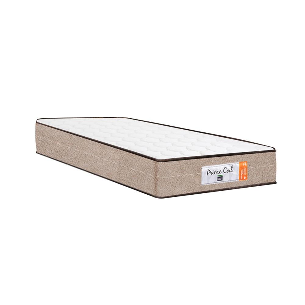 Cama Box Baú Auxiliar Solteiro Cinza + Colchão Molas Superlastic Solteiro - Comfort Prime - Coil Crystal 88x188x60cm