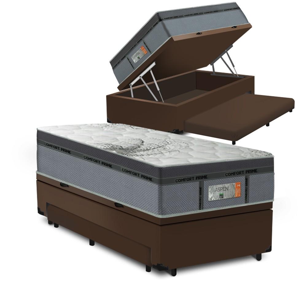Cama Box Baú Auxiliar Solteiro Marrom + Colchão Molas Ensacadas Solteiro - Comfort Prime - New Aspen 88x188x72cm