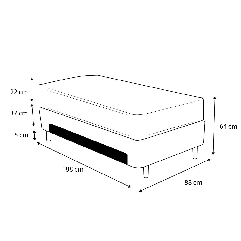 Cama Box Baú Auxiliar Solteiro Marrom + Colchão Molas Superlastic Solteiro - Comfort Prime - Coil Classic 88x188x64cm