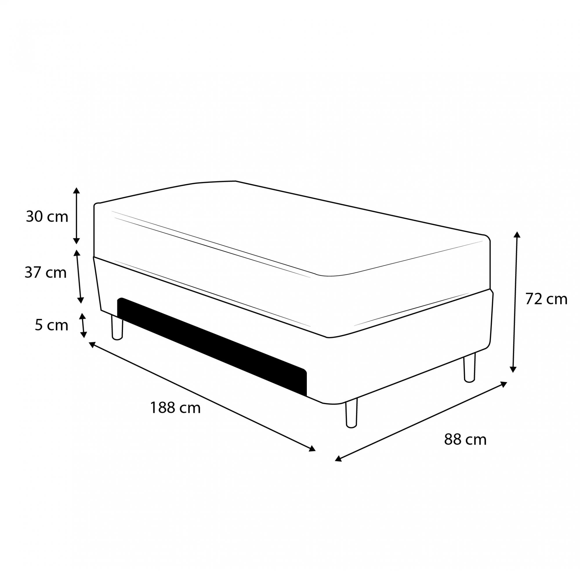 Cama Box Baú Auxiliar Solteiro Preta + Colchão Comfort Maxx Extra Firme D33 Solteiro - Comfort Prime 88x188x72cm