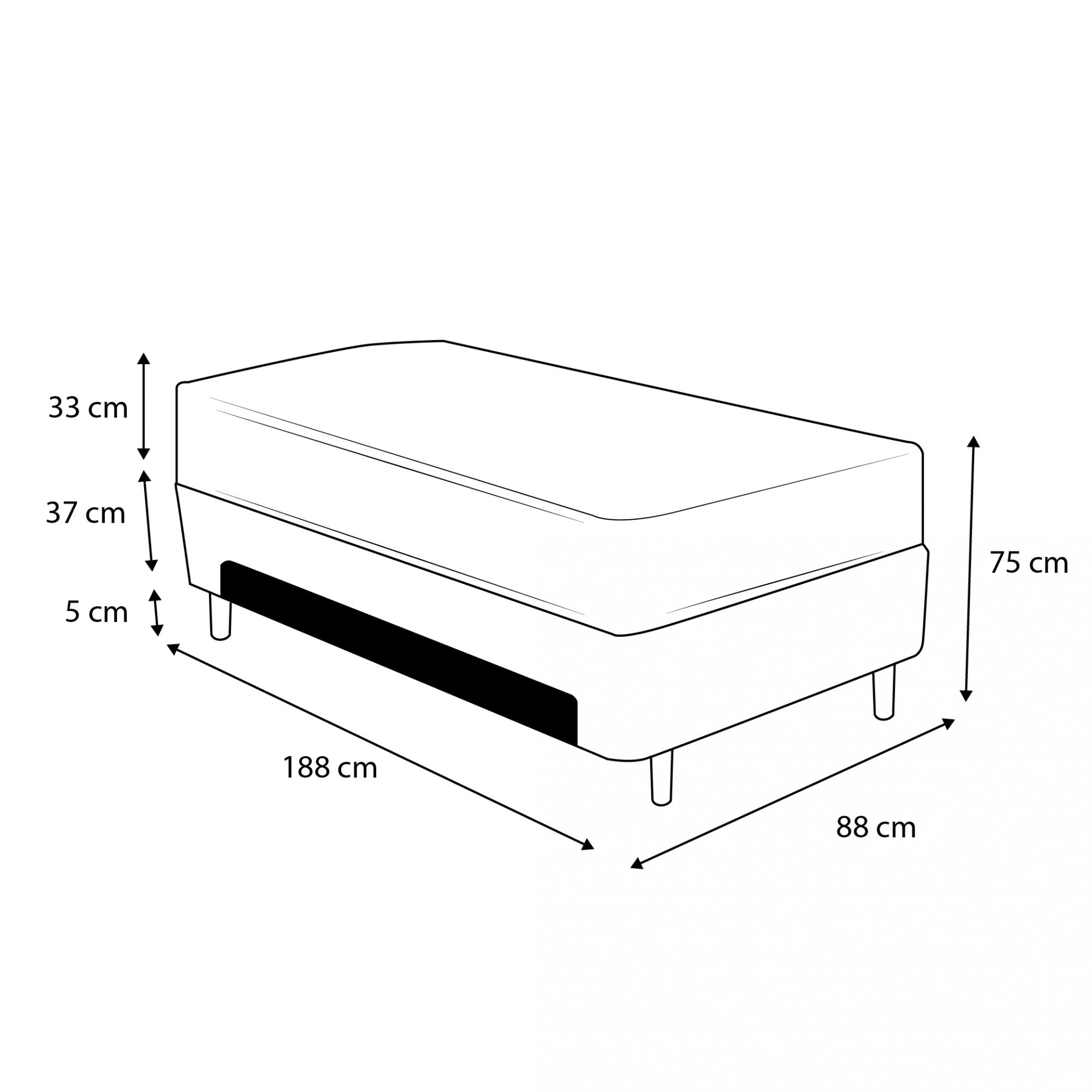 Cama Box Baú Auxiliar Solteiro Preta + Colchão Molas Ensacadas Solteiro - Comfort Prime - New Imperador 88x188x75cm