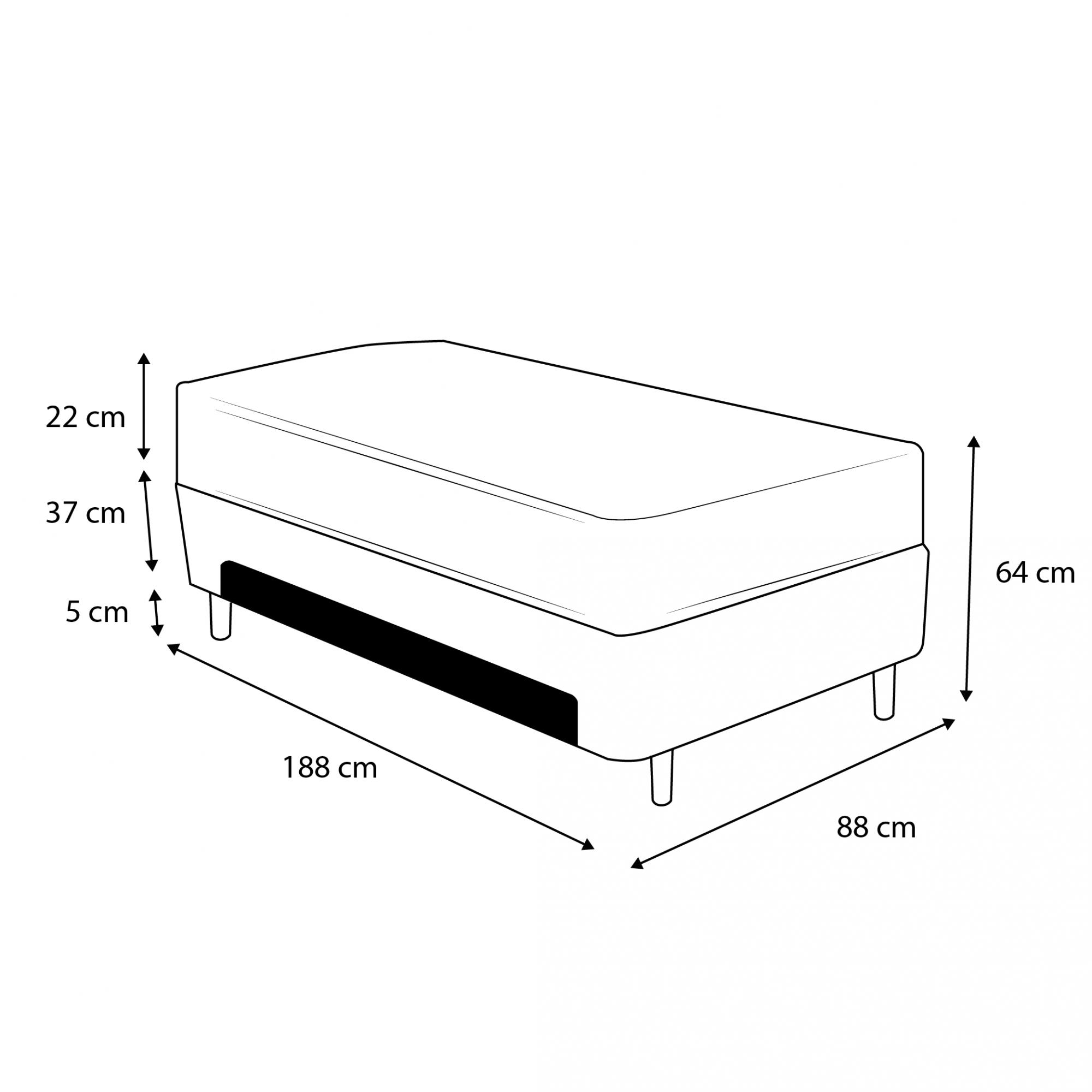 Cama Box Baú Auxiliar Solteiro Preta + Colchão Molas Superlastic Solteiro - Comfort Prime - Prime Dreams 88x188x64cm