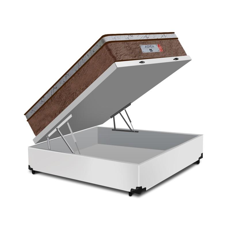 Cama Box Baú Casal Branca + Colchão de Molas Ensacadas - Comfort Prime - Aspen - 138x188x72cm