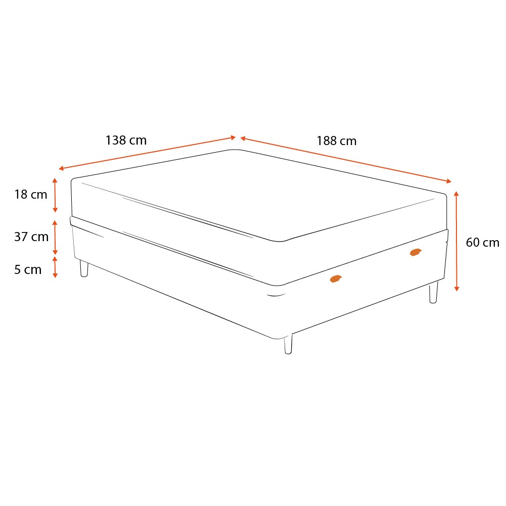 Cama Box Baú Casal Branca + Colchão de Molas Superlastic - Comfort Prime - Coil Crystal - 138x188x60cm
