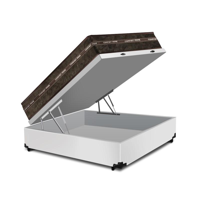 Cama Box Baú Casal Branca + Colchão de Molas Superlastic - Comfort Prime - Coil Classic - 138x188x64cm
