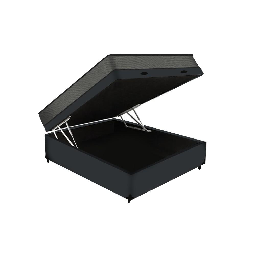 Cama Box Baú Casal Cinza + Colchão De Espuma D23 - Prorelax - Sienna - 138x188x56cm