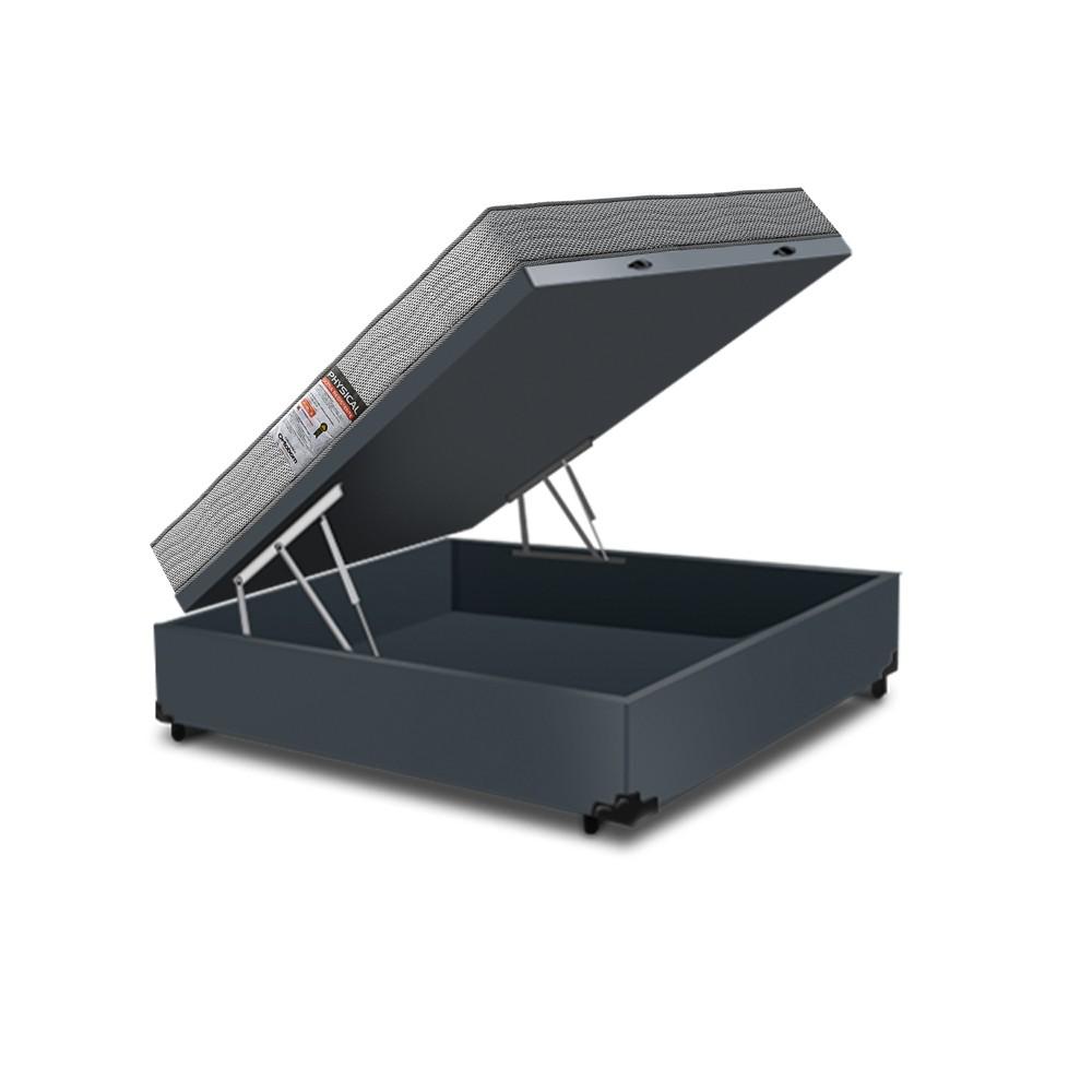 Cama Box Baú Casal Cinza + Colchão De Espuma D26 - Ortobom - Physical Ultra Resistente - 138x188x59cm
