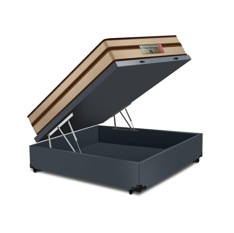 Cama Box Baú Casal Cinza + Colchão de Molas Ensacadas - Comfort Prime - Prime Dreams Classic - 138x188x64cm