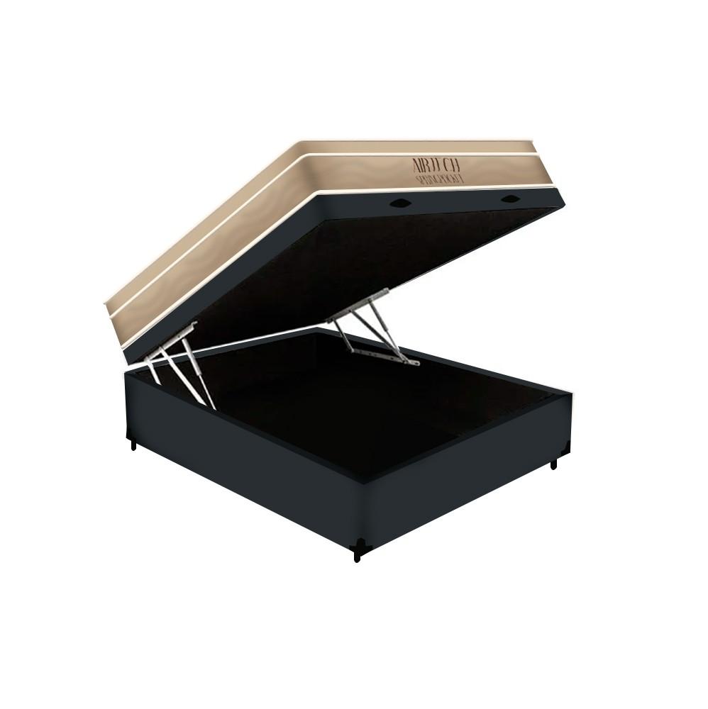 Cama Box Baú Casal Cinza + Colchão De Molas Ensacadas - Ortobom - AirTech SpringPocket - 138x188x72cm