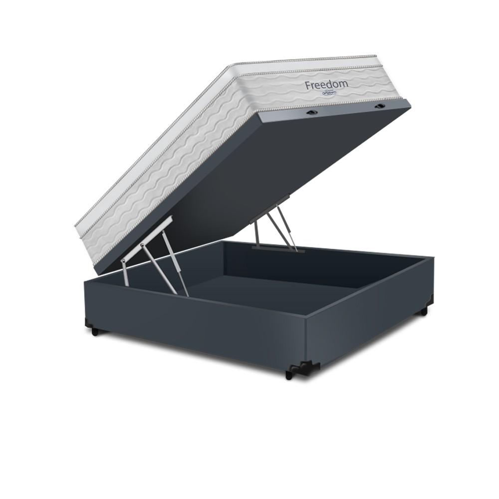 Cama Box Baú Casal Cinza + Colchão De Molas Ensacadas - Ortobom - Freedom - 138x188x74cm