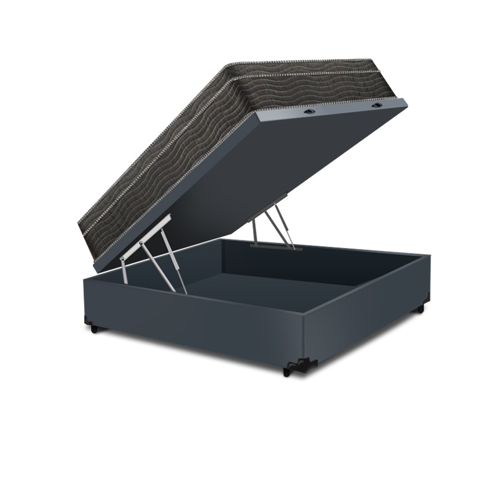 Cama Box Baú Casal Cinza+ Colchão De Molas Ensacadas - Ortobom - ISO SuperPocket - 138x188x67cm