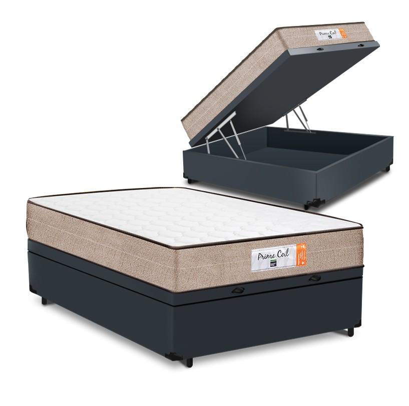 Cama Box Baú Casal Cinza + Colchão de Molas Superlastic - Comfort Prime - Coil Crystal - 138x188x60cm