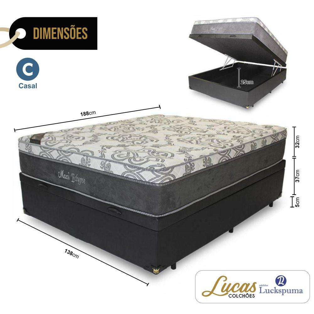 Cama Box Baú Casal + Colchão Molas Max Eclypse Luckspuma - 138x188x65cm