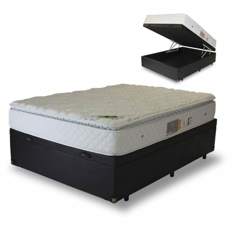 Cama Box Baú Casal + Colchão Molas Maxi Dream Luckspuma - 138x188x43cm