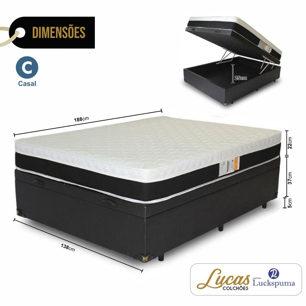 Cama Box Baú Casal + Colchão Molas New Eagle Luckspuma 138