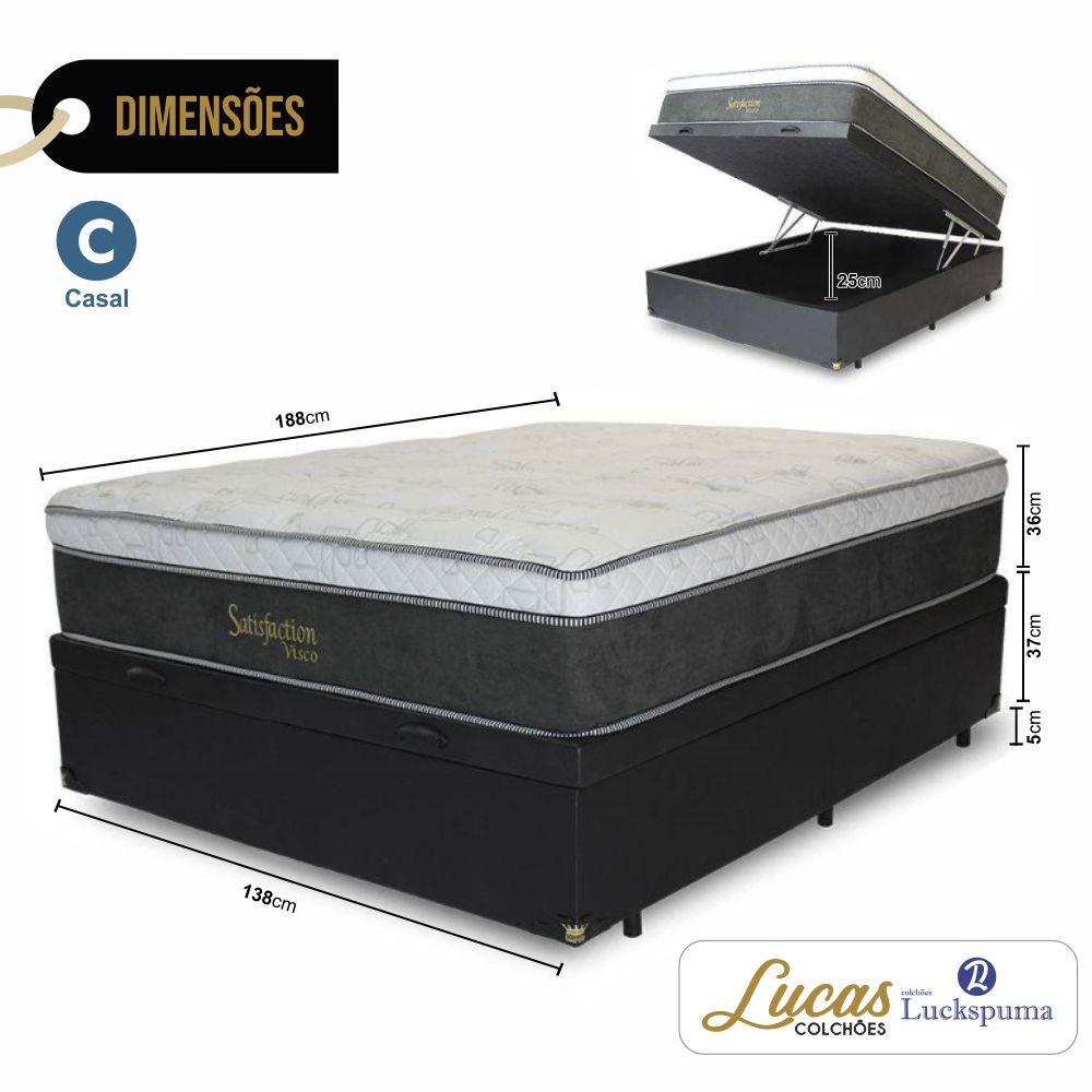 Cama Box Baú Casal + Colchão Satisfaction Visco Luckspuma -138x188x79cm