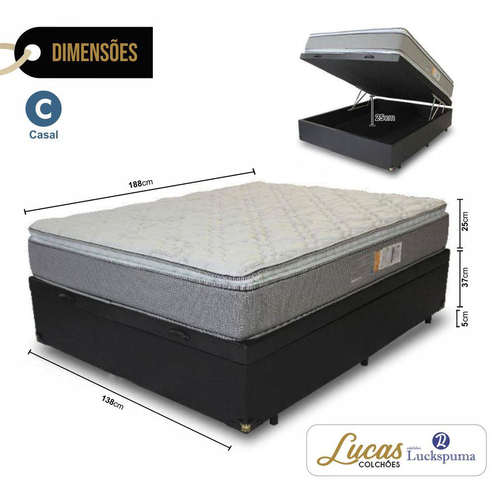 Cama Box Baú Casal + Colchão Trade Bonnel Luckspuma 138x188x73cm