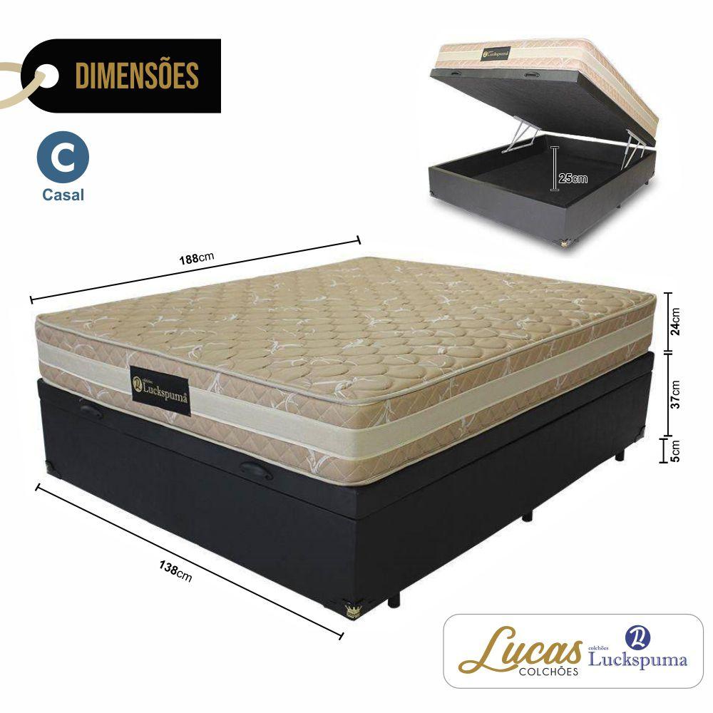 Cama Box Baú Casal + Colchão De Molas Luck Hotel Luckspuma - 138x188x67cm