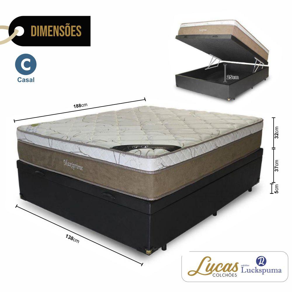 Cama Box Baú Casal + Colchão Molas Maxi Prime Luckspuma - 138x188x43