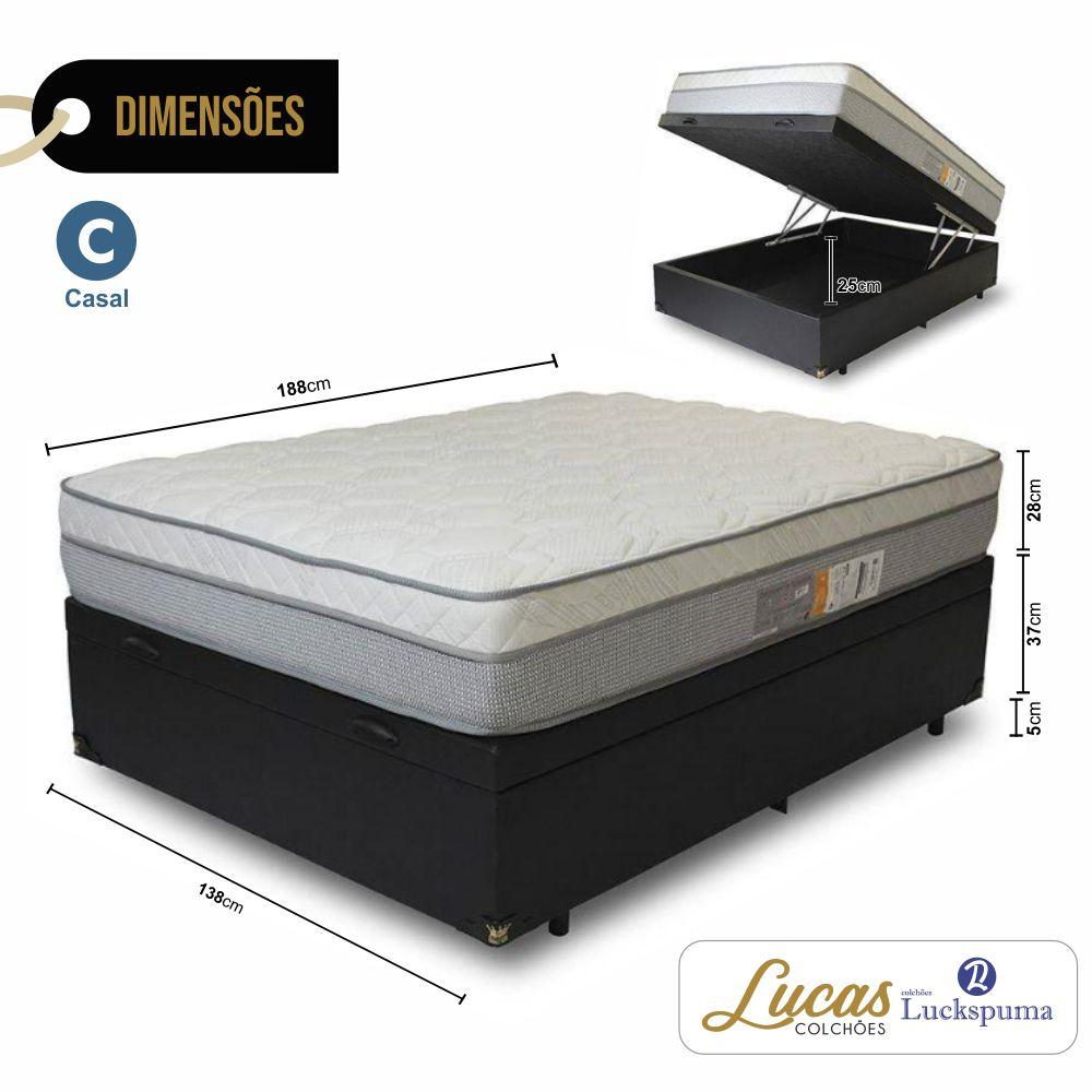 Cama Box Baú Casal + Colchão New Maxi Luckspuma - 138x188x43