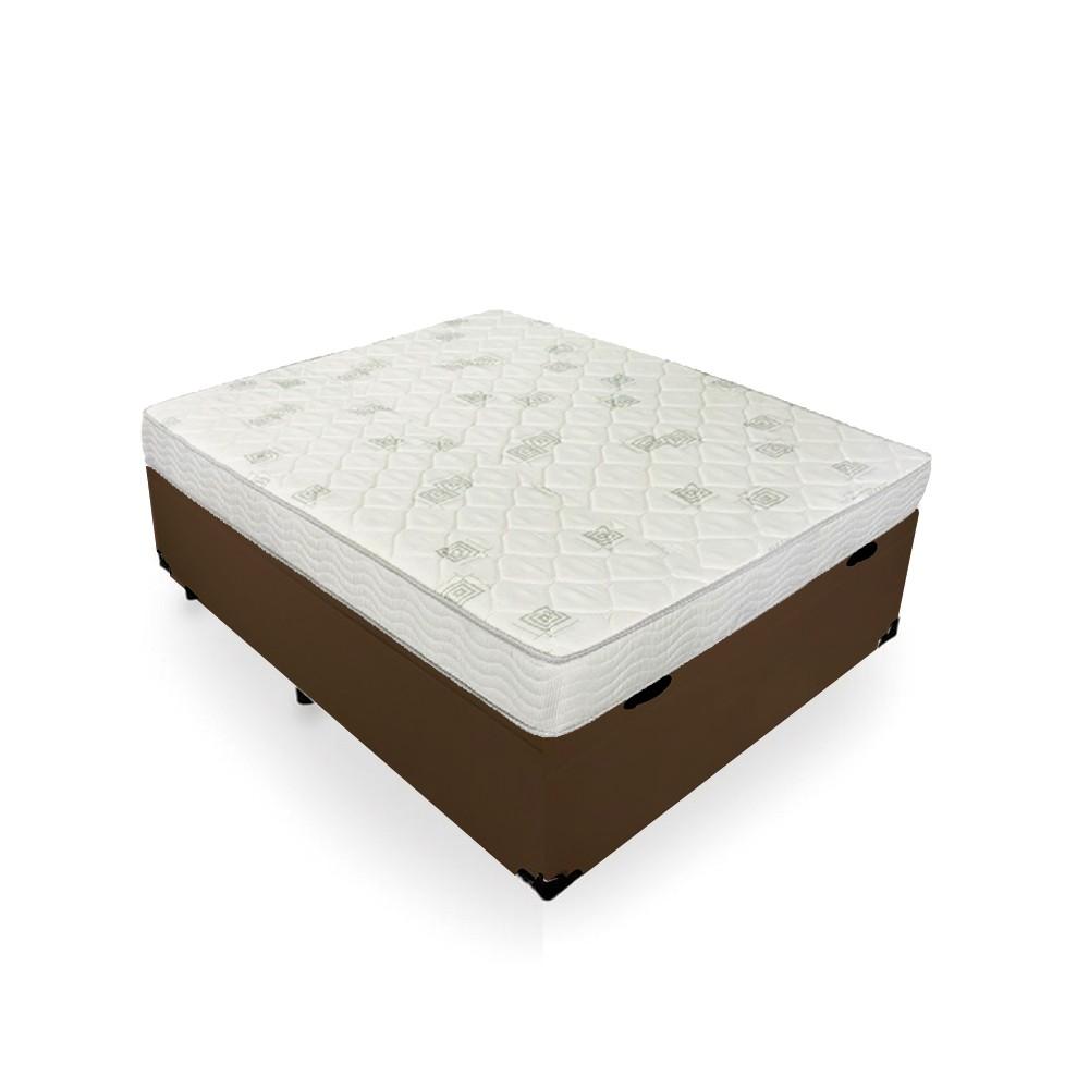 Cama Box Baú Casal Marrom + Colchão De Espuma D23 - Ortobom - Light D23 138x188x56cm