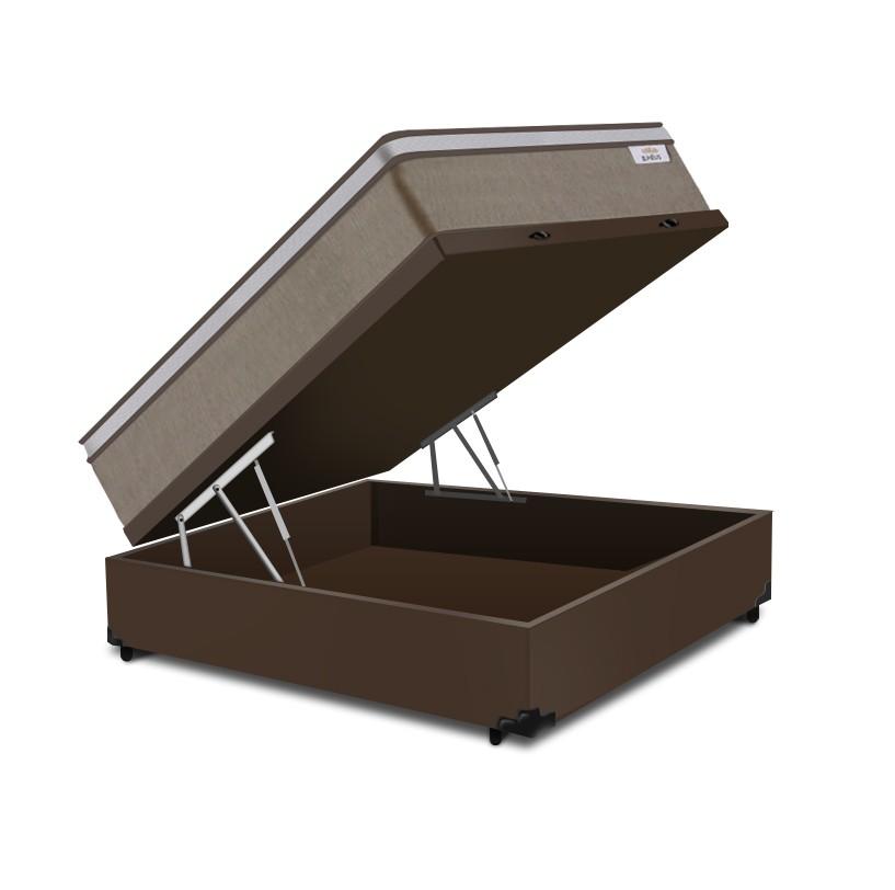 Cama Box Baú Casal Marrom + Colchão de Molas Ensacadas - Plumatex -  Ilhéus 138x188x68cm