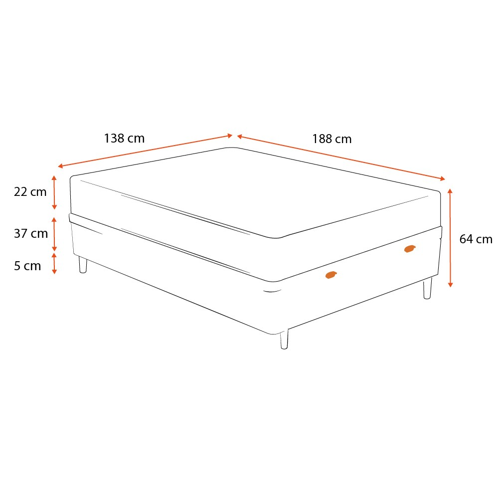 Cama Box Baú Casal Preta + Colchão de Molas Ensacadas - Comfort Prime - Prime Dreams Classic - 138x188x64cm