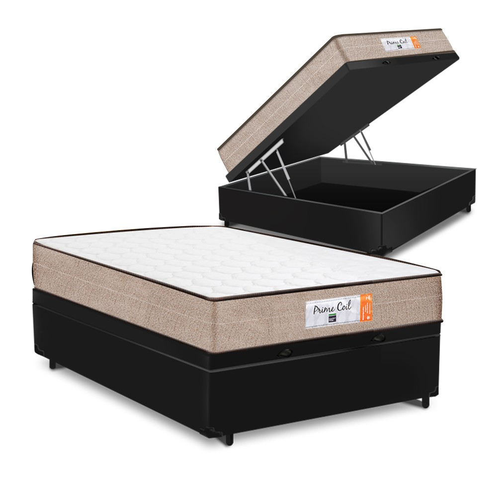 Cama Box Baú Casal Preta + Colchão de Molas Superlastic - Comfort Prime - Coil Crystal - 138x188x60cm