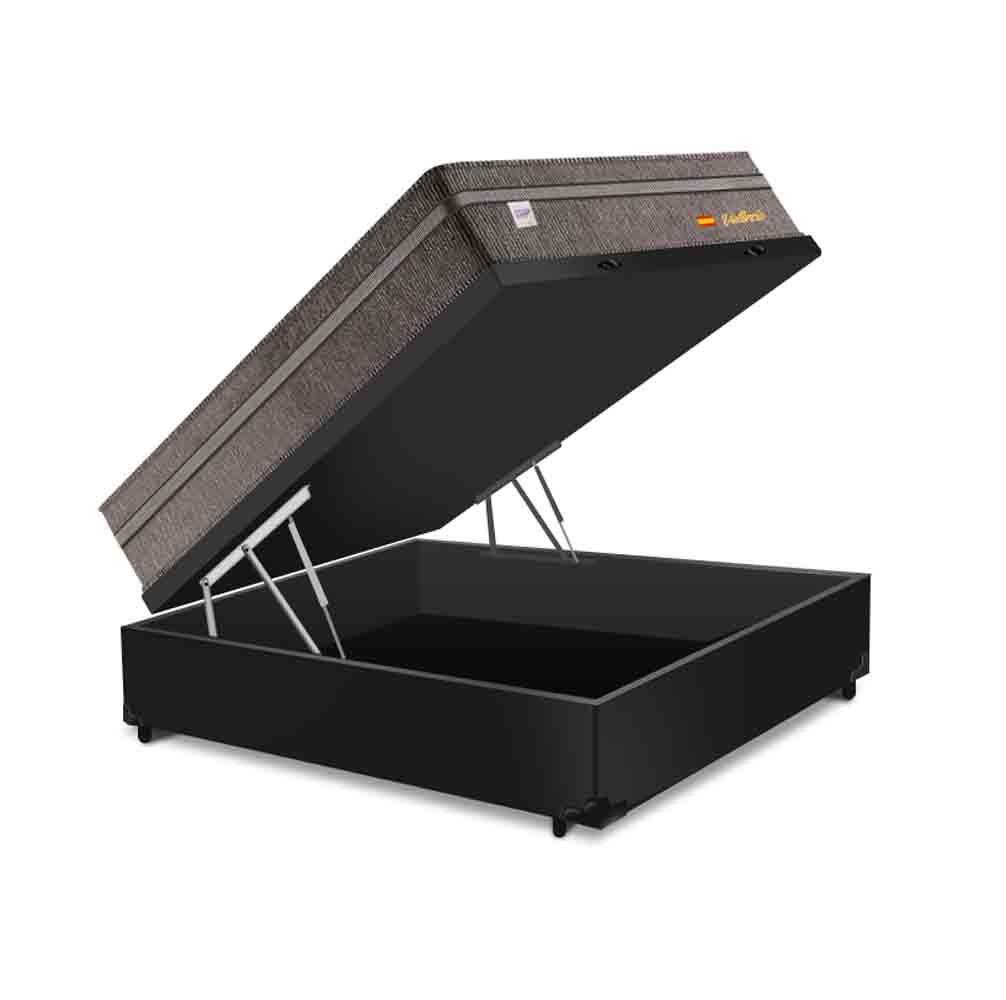 Cama Box Baú Casal Preta + Colchão de Molas Superlastic - Plumatex - Valencia - 138x188x72cm