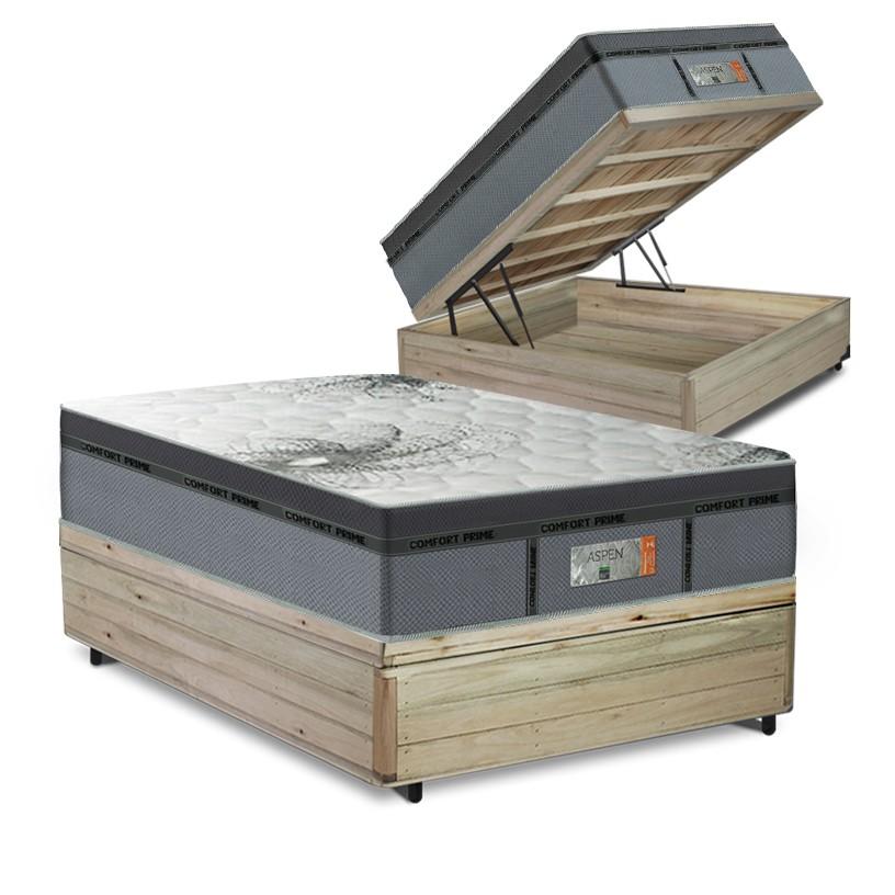 Cama Box Baú Casal Rústica + Colchão de Molas Ensacadas - Comfort Prime - New Aspen - 138x188x72cm
