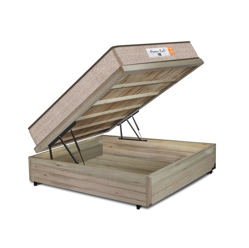 Cama Box Baú Casal Rústica + Colchão de Molas Superlastic - Comfort Prime - Coil Crystal - 138x188x60cm