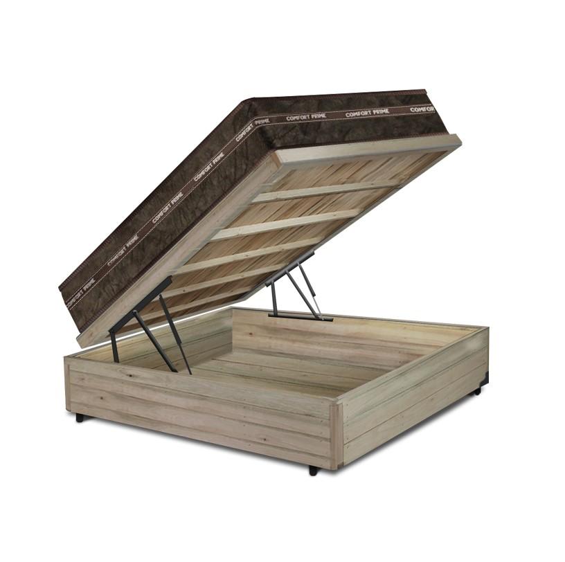 Cama Box Baú Casal Rústica + Colchão de Molas Superlastic - Comfort Prime - Coil Classic - 138x188x64cm