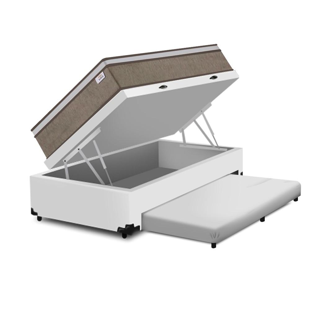 Cama Box Baú e Auxiliar Solteiro Branca + Colchão de Molas Ensacadas - Plumatex - Ilhéus - 88x188x68cm