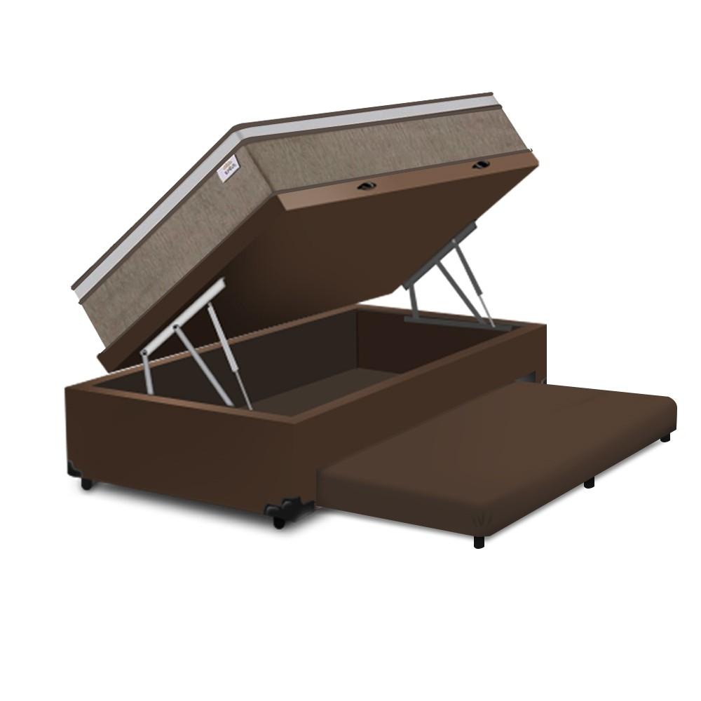 Cama Box Baú e Auxiliar Solteiro Marrom + Colchão de Molas Ensacadas - Plumatex - Ilhéus - 88x188x68cm
