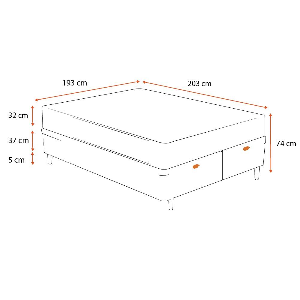 Cama Box Baú King Cinza + Colchão De Molas Ensacadas - Ortobom - Freedom - 193x203x74cm