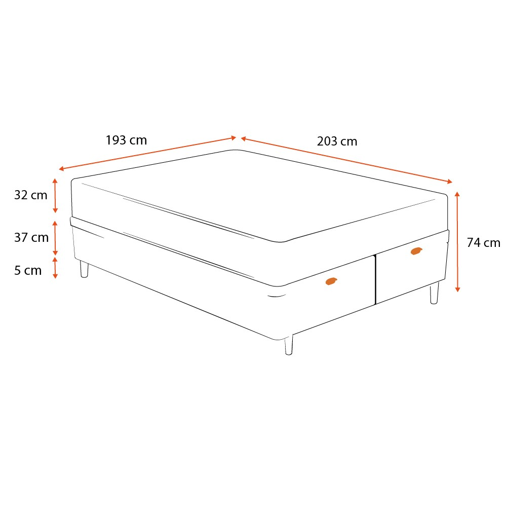 Cama Box Baú King Cinza + Colchão de Molas Ensacadas - Sealy - Platinum - 193x203x74cm