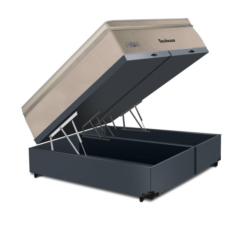 Cama Box Baú King Cinza + Colchão de Molas Superlastic - Plumatex - Toulouse - 193x203x76cm