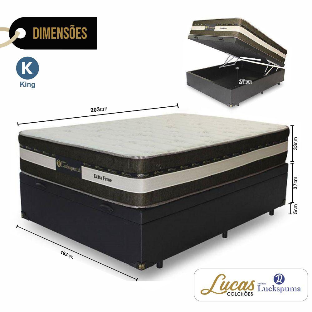 Cama Box Baú King + Colchão Esplendor One Luckspuma - 193x203x76cm