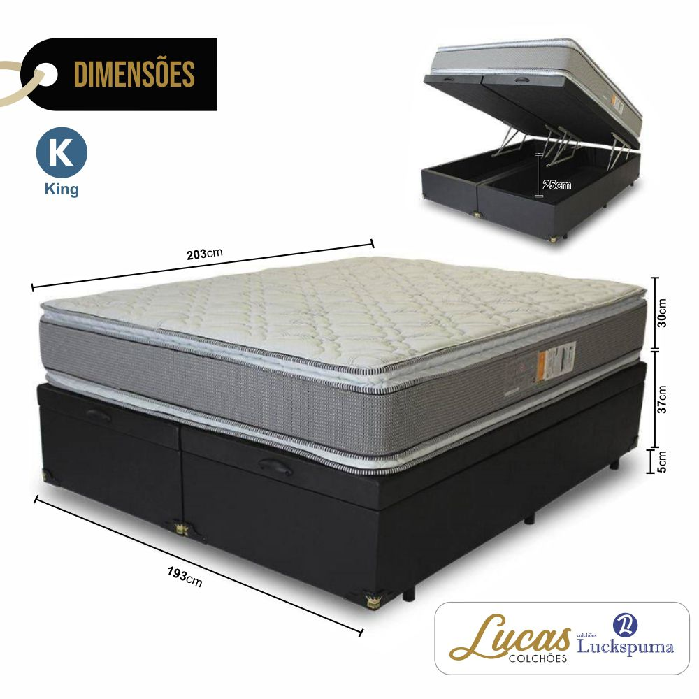 Cama Box Baú King + Colchão Satisfaction Plus Luckspuma - 193x203x43cm
