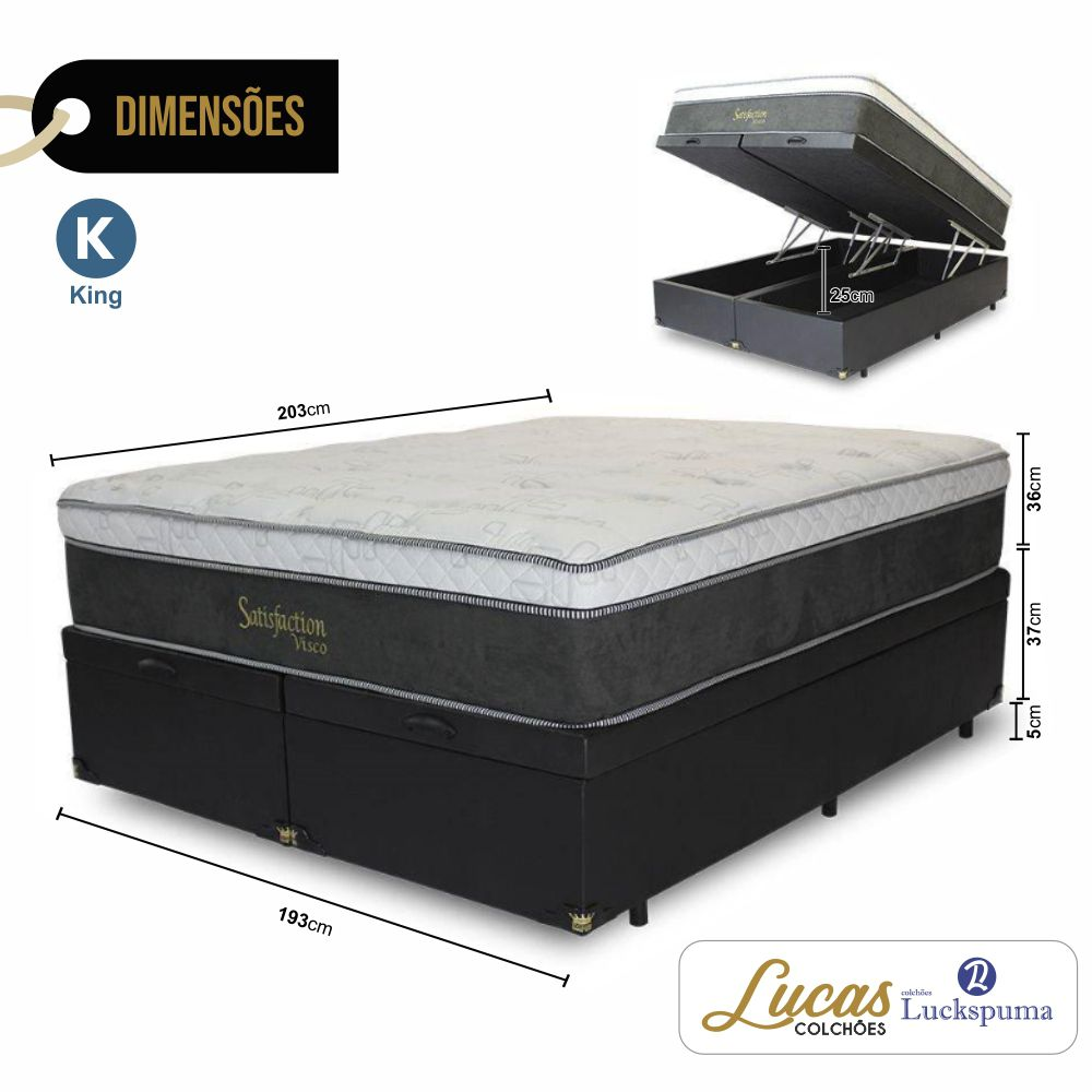Cama Box Baú King + Colchão Satisfaction Visco Luckspuma - 193x203x43cm