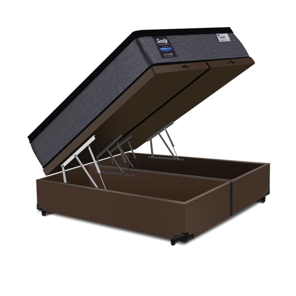 Cama Box Baú King Marrom + Colchão de Molas Ensacadas - Sealy - Starck - 193x203x70cm
