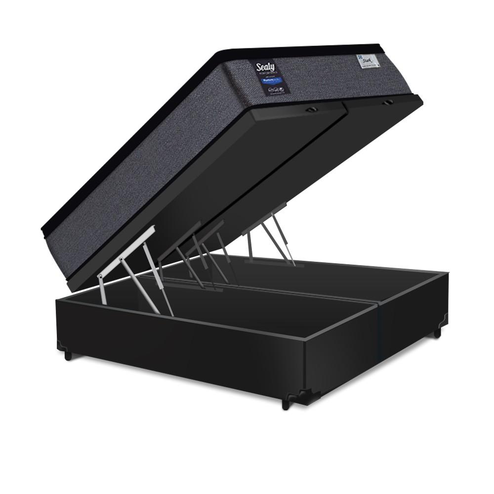 Cama Box Baú King Preta + Colchão de Molas Ensacadas - Sealy - Starck - 193x203x70cm