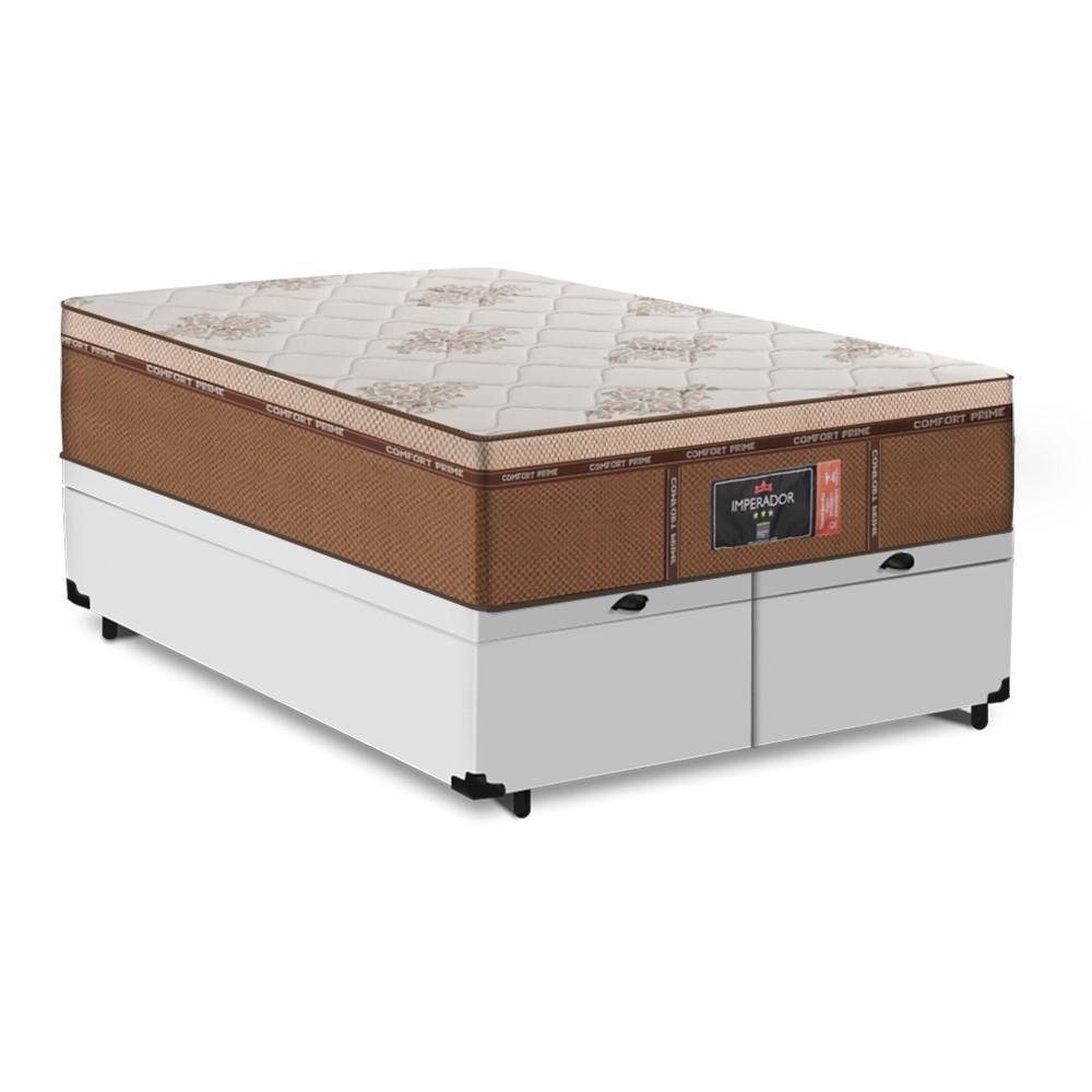 Cama Box Baú Queen Branca + Colchão de Molas Ensacadas - Comfort Prime - New Imperador - 158x198x75cm