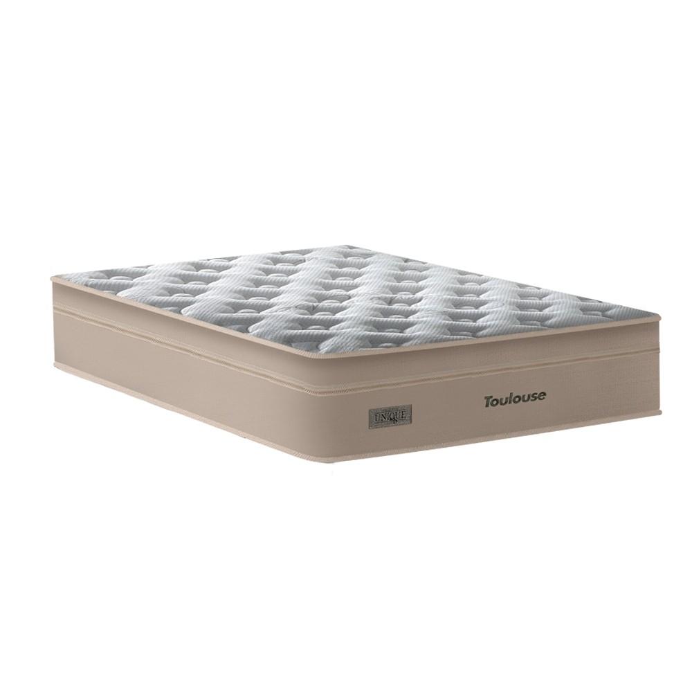 Cama Box Baú Queen Cinza + Colchão de Molas Superlastic - Plumatex - Toulouse - 158x198x76cm