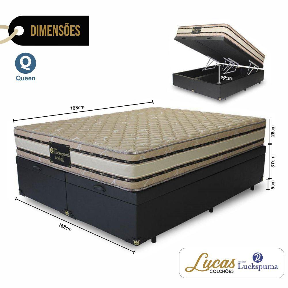 Cama Box Baú Queen + Colchão Gran Hotel Luckspuma - 158x193x71cm