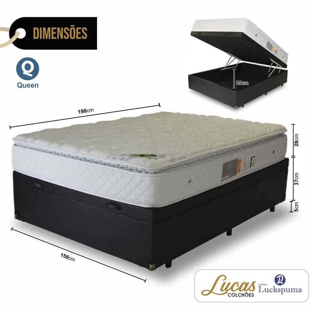 Cama Box Baú Queen + Colchão Molas Maxi Dream Luckspuma - 158x198x43cm