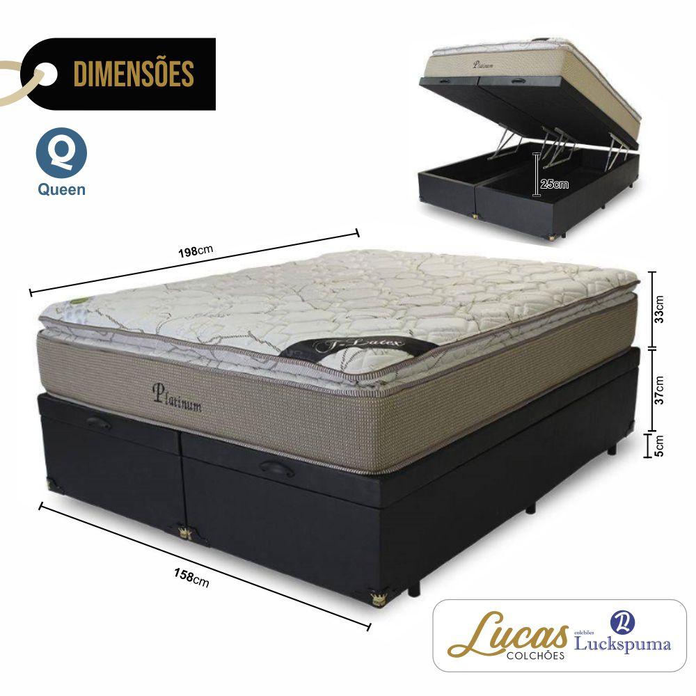 Cama Box Baú Queen + Colchão Platinum Luckspuma - 158x198x43cm