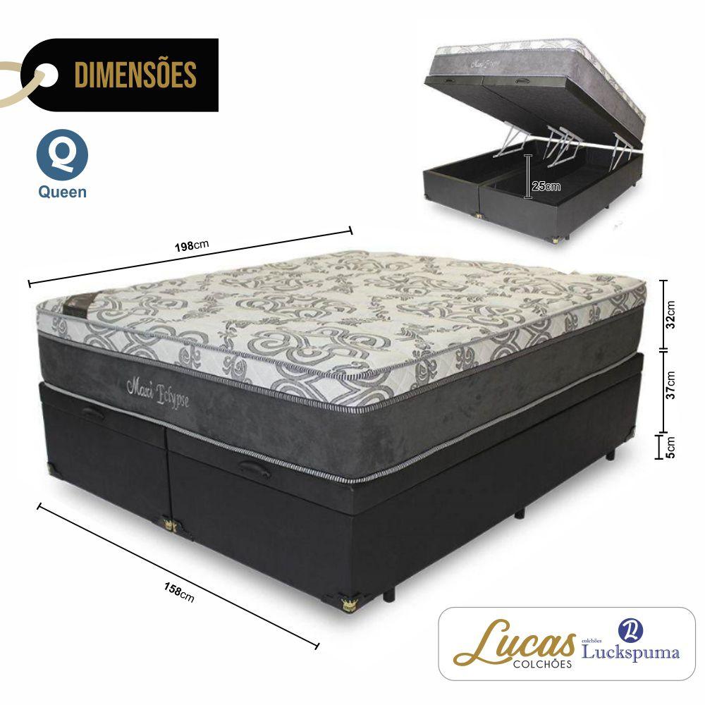 Cama Box Baú Queen + Colchão Maxi Eclypse Luckspuma - 158x198x43cm