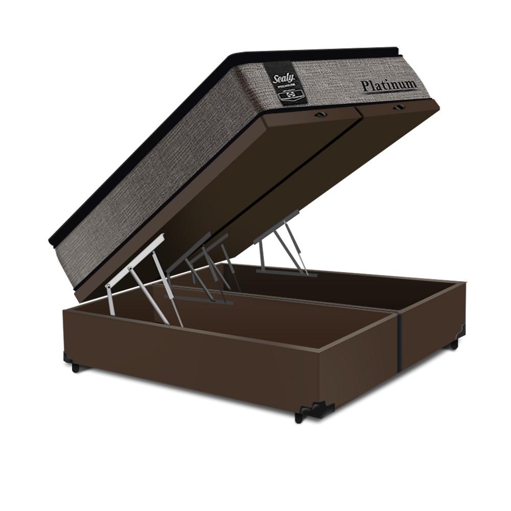 Cama Box Baú Queen Marrom + Colchão de Molas Ensacadas - Sealy - Platinum - 158x198x74cm