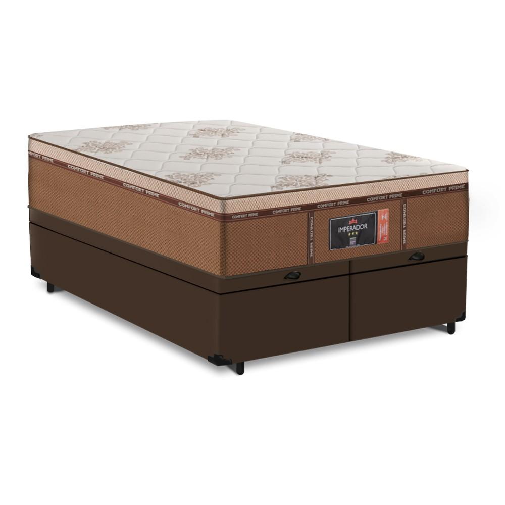 Cama Box Baú Queen Marrom + Colchão de Molas Ensacadas - Comfort Prime - New Imperador - 158x198x75cm